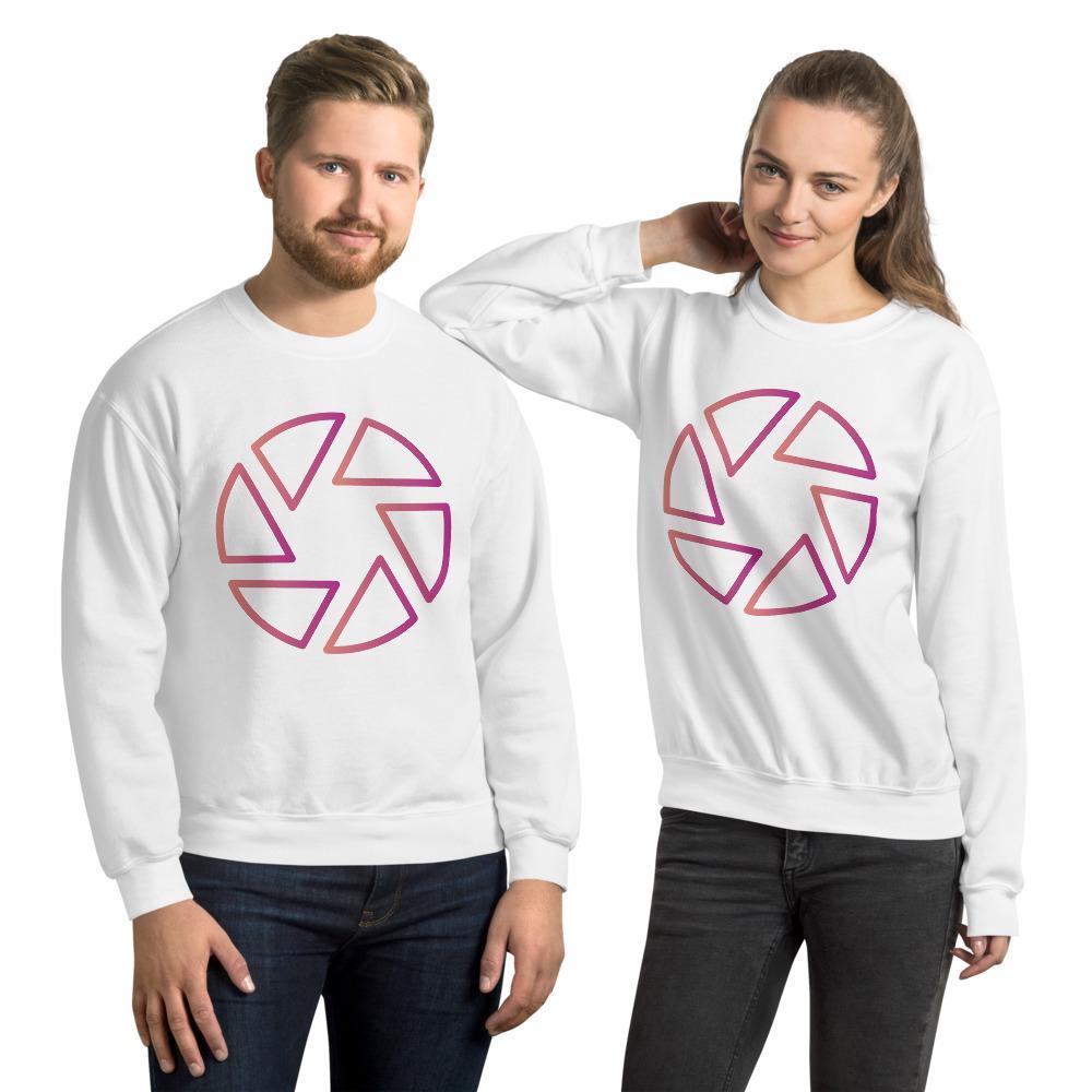 Fotografie cadeau: sluiter symbool sweatshirt wit met roze bedrukking, unisex
