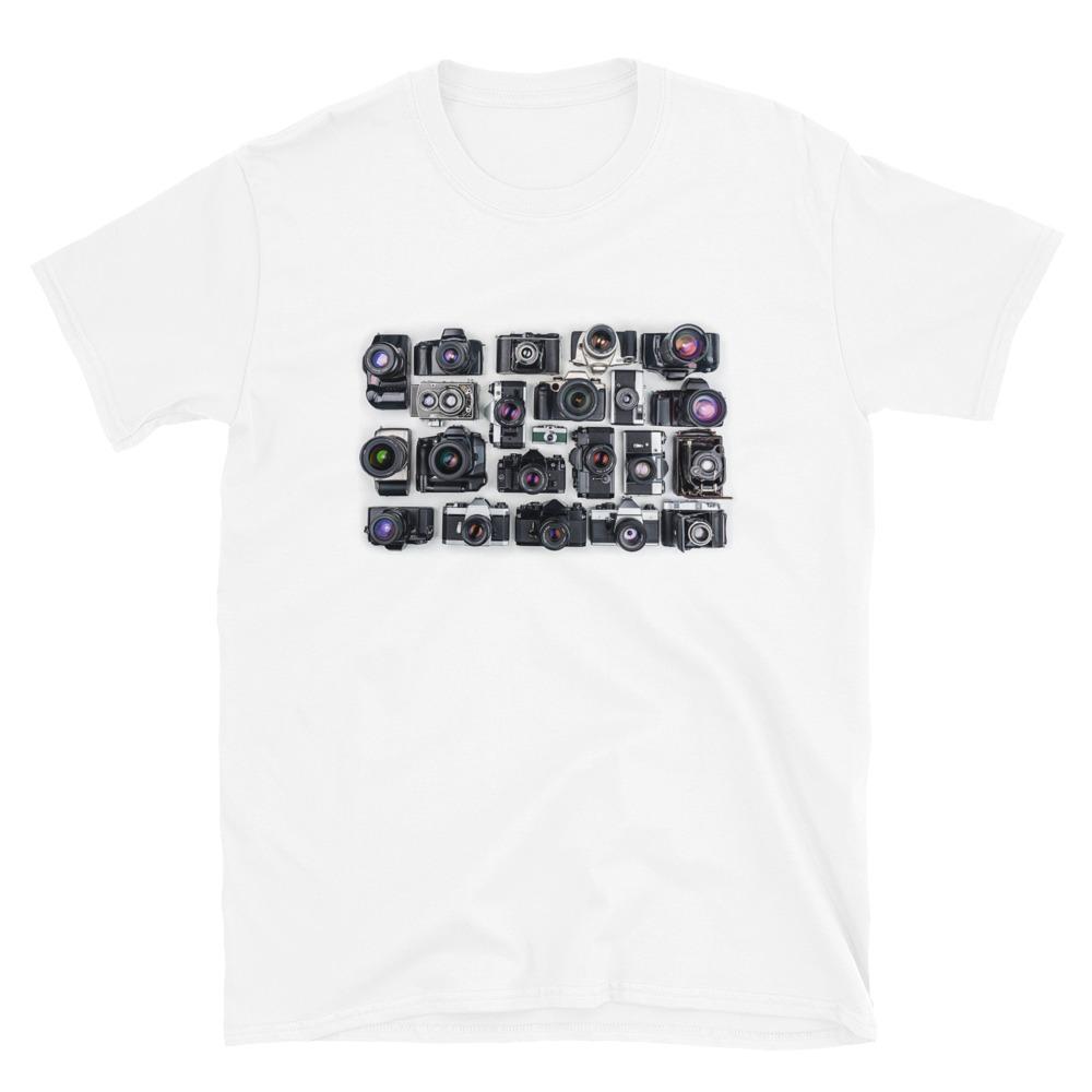 Fotograaf T-shirt cadeau: T-shirt met korte mouwen wit met klassieke fototoestellen