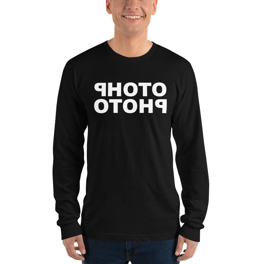 Fotografie cadeau: T-shirt met lange mouwen zwart met witte letters Photo Photo