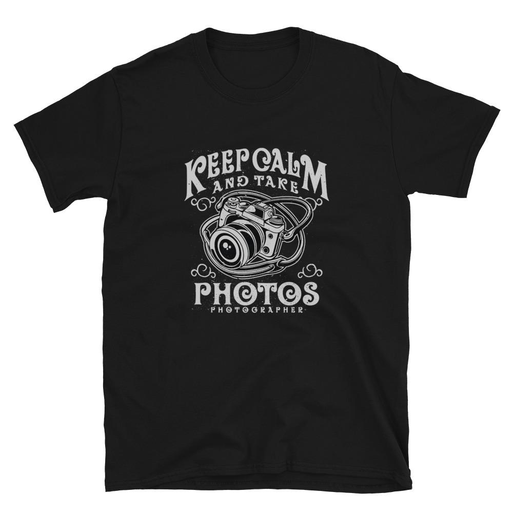 Fotografie cadeau: T-shirt met camera en tekst Keep Calm and Take Photos, zwartwit