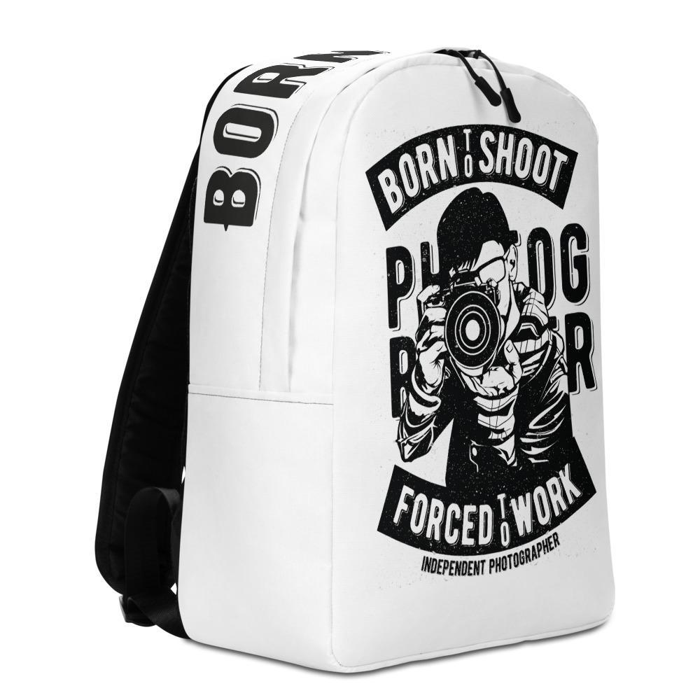 Fotografie cadeau: minimalistische rugzak met Born to shoot Photography print