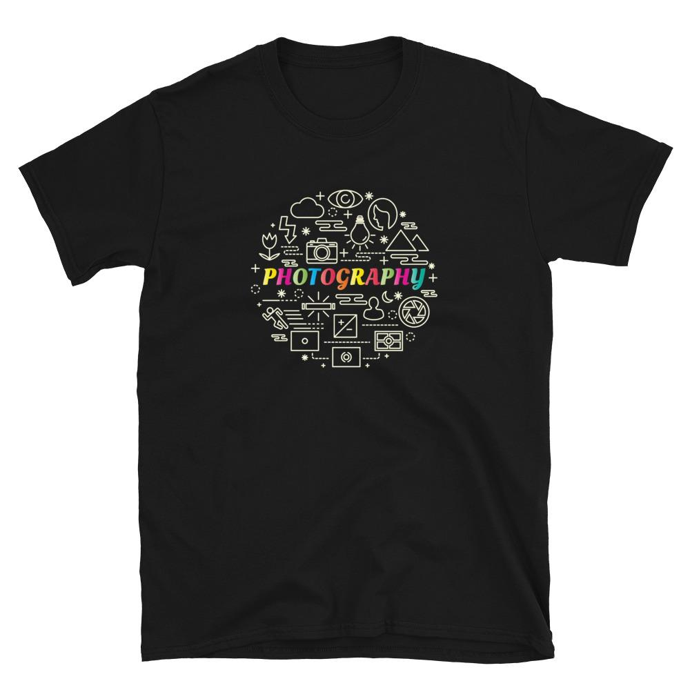 Fotografie cadeau: T-shirt met korte mouwen bedrukt met tekst Colorful Photography