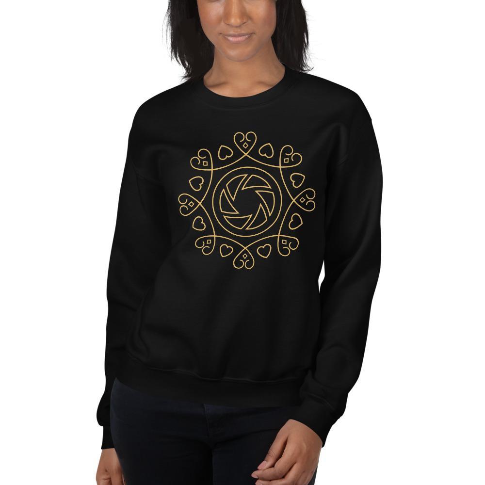 Fotografie cadeau: zwart sweatshirt voor dames met hart voor fotografie embleem
