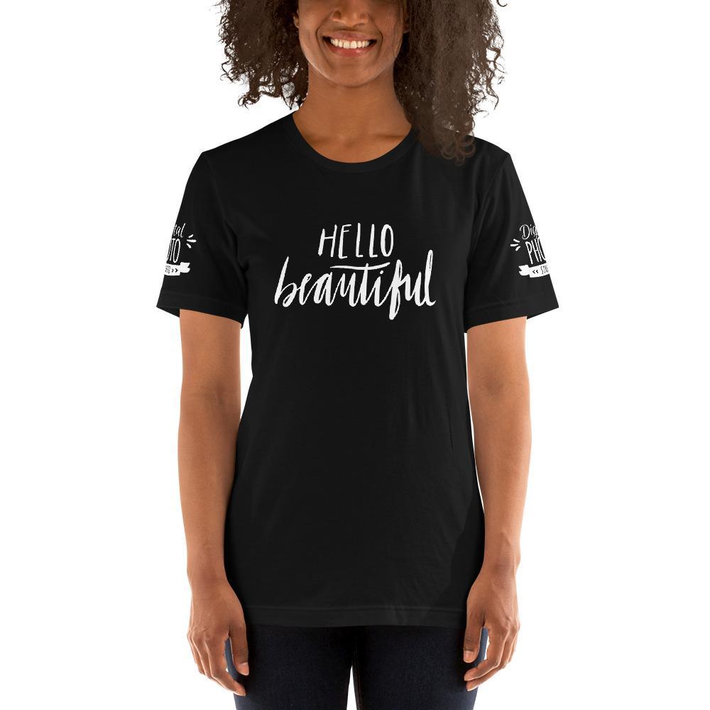 Fotografie cadeau: T-shirt met korte mouwen zwart met tekst Hello Beautiful voor dames