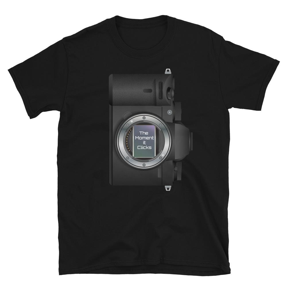 Fotografie cadeau: The Moment it Clicks - T-shirt met korte mouwen zwart met camera print