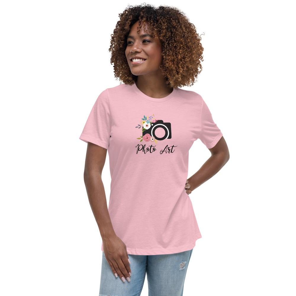 Fotograaf T-shirt cadeau: T-shirt bedrukt met tekst Photo Art en camera en bloemen voor dames