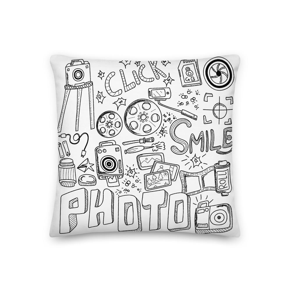 Fotograaf kussen cadeau: Fotografie droedel - Premium kussen