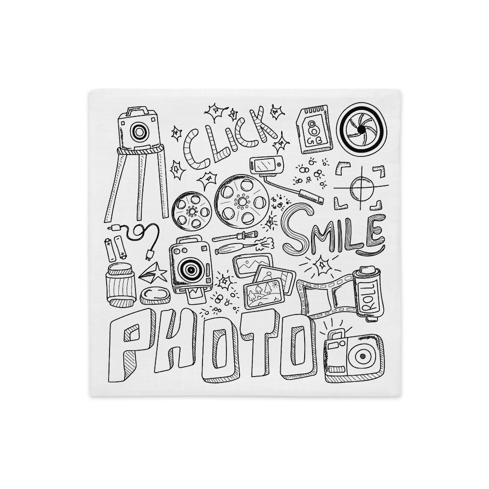 Fotograaf kussenhoes cadeau: Fotografie droedel - Premium kussenhoes