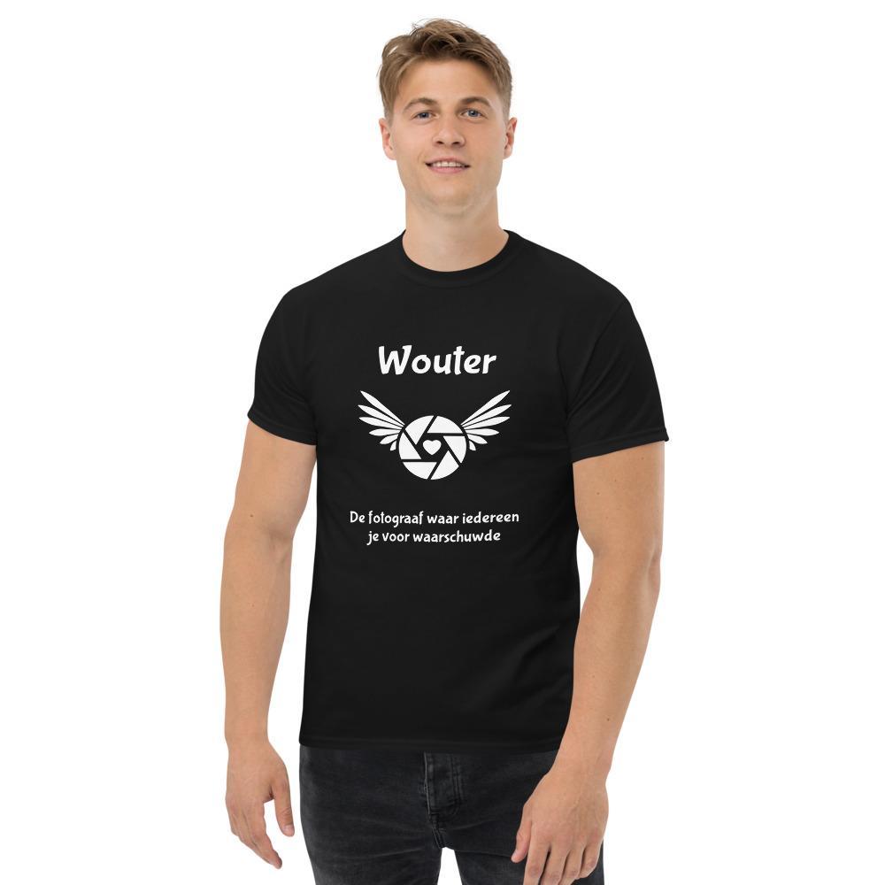 Fotograaf T-shirt met eigen tekst cadeau: eigen ontwerp, Gepersonaliseerd zwaar T-shirt, heren met tekst De fotograaf waar iedereen je voor waarschuwde