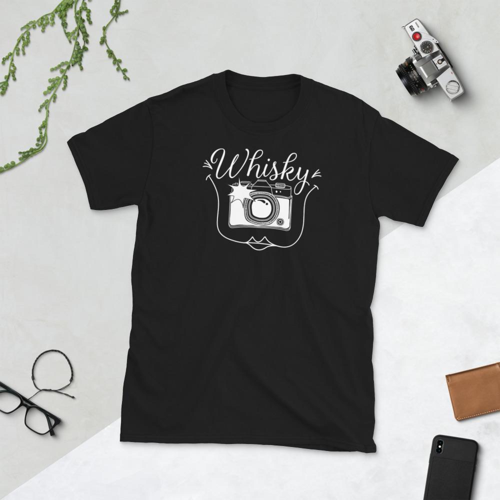 Fotograaf T-shirt cadeau: T-shirt met korte mouwen met camera en tekst Whisky