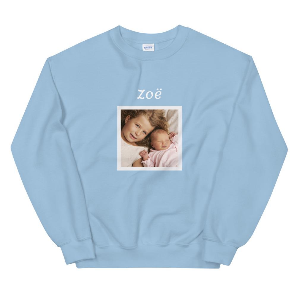 Sweater cadeau met baby foto: Sweater met eigen foto en naam erboven