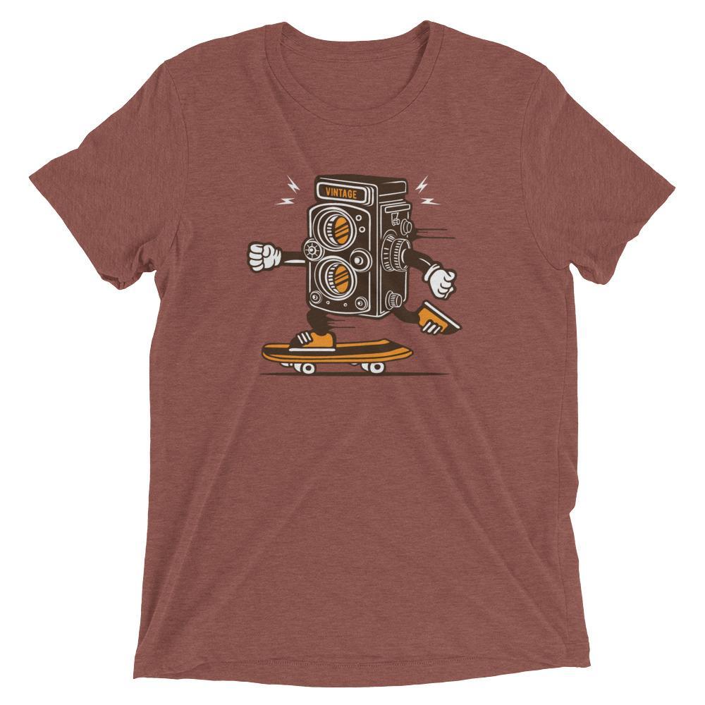 Fotograaf T-shirt cadeau: Vintage camera skateboarding - Tri-Blend T-Shirt, unisex