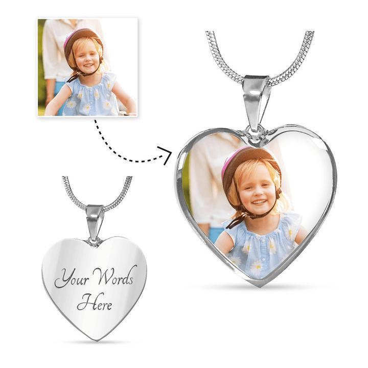 Foto hanger ketting: volledig aanpasbare foto hart ketting met gravure: verras iemand van wie je houdt met dit unieke en elegante sieraad