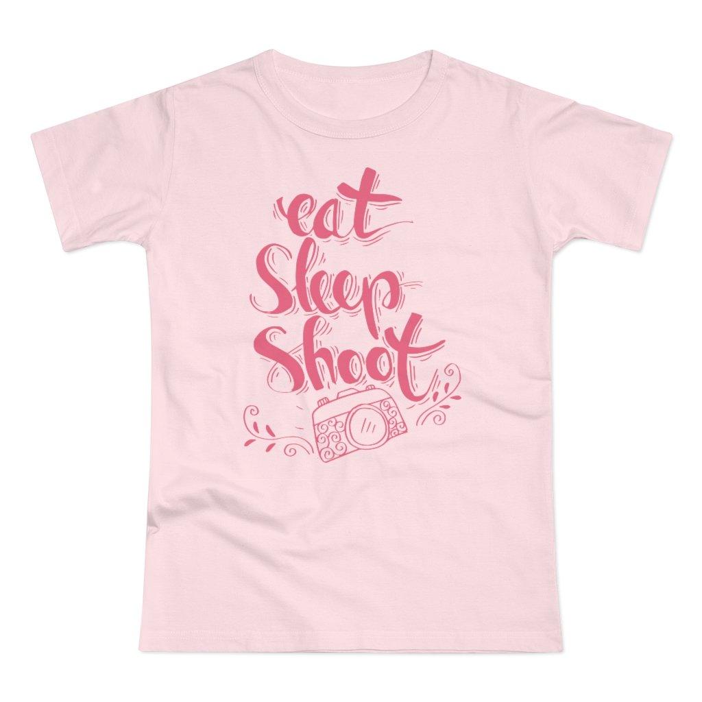 Fotograaf T-shirt cadeau: Eat, Sleep, Shoot - Jersey T-shirt, dames, pink