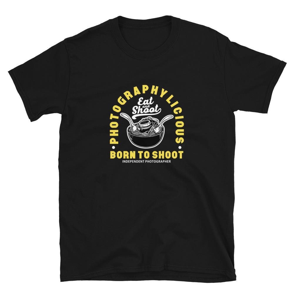 Fotograaf T-shirt: Photographylicious - Zwart T-shirt met korte mouwen, unisex