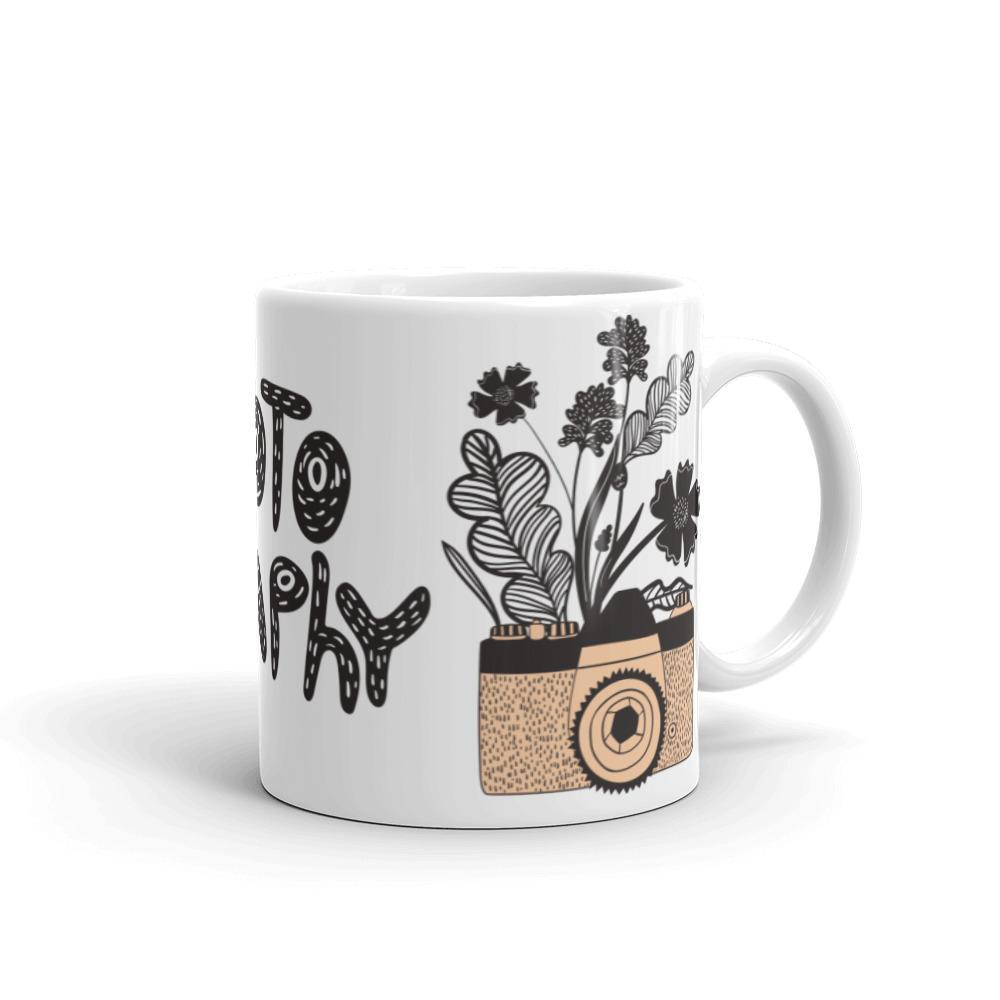 Fotograaf mok cadeau: Retro stijl camera met bloemen - Mok