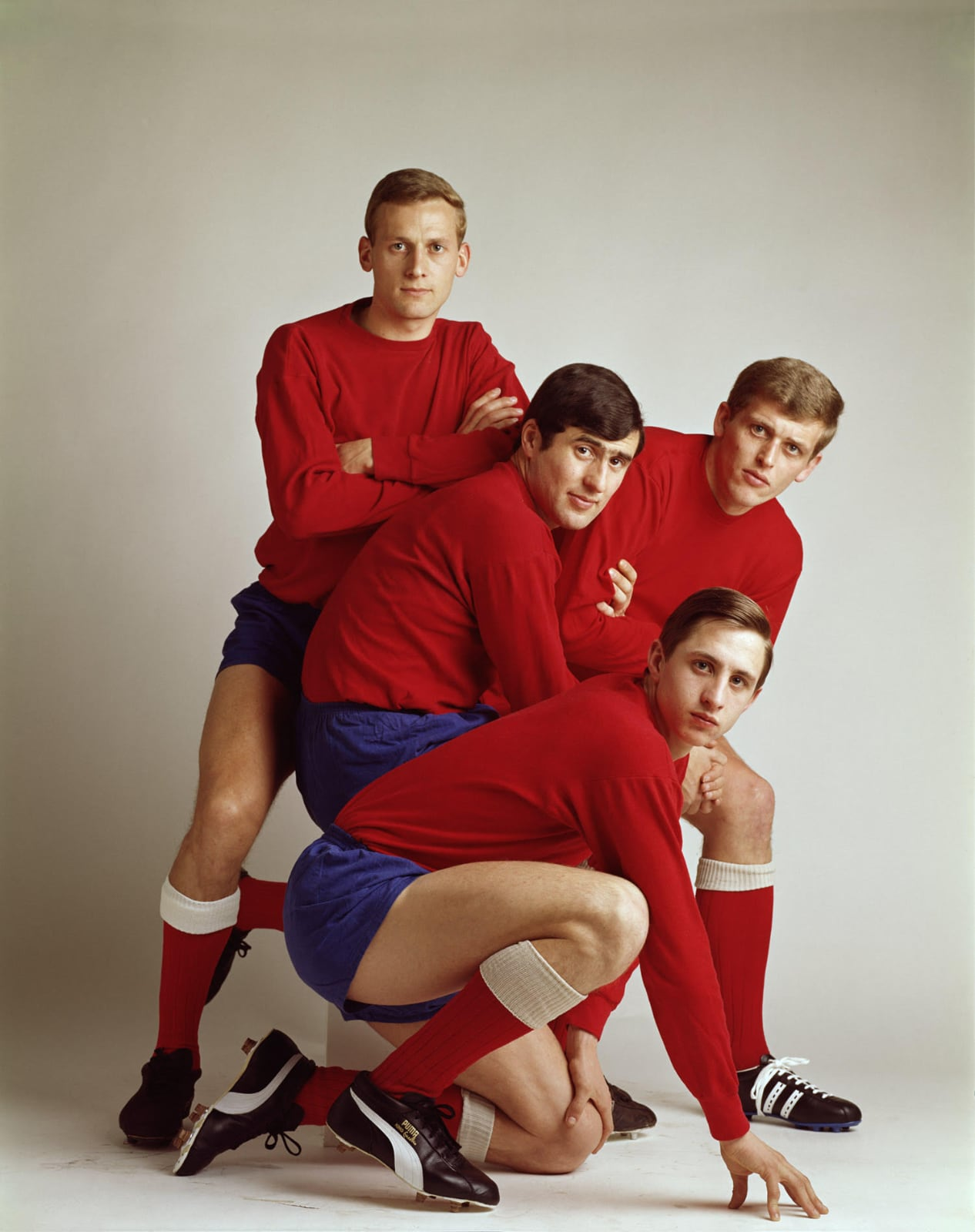 © Paul Huf/MAI - 1967, Ajax voetballers Johan Cruijff, Klaas Nuninga, Sjaak Swart en Piet Keizer