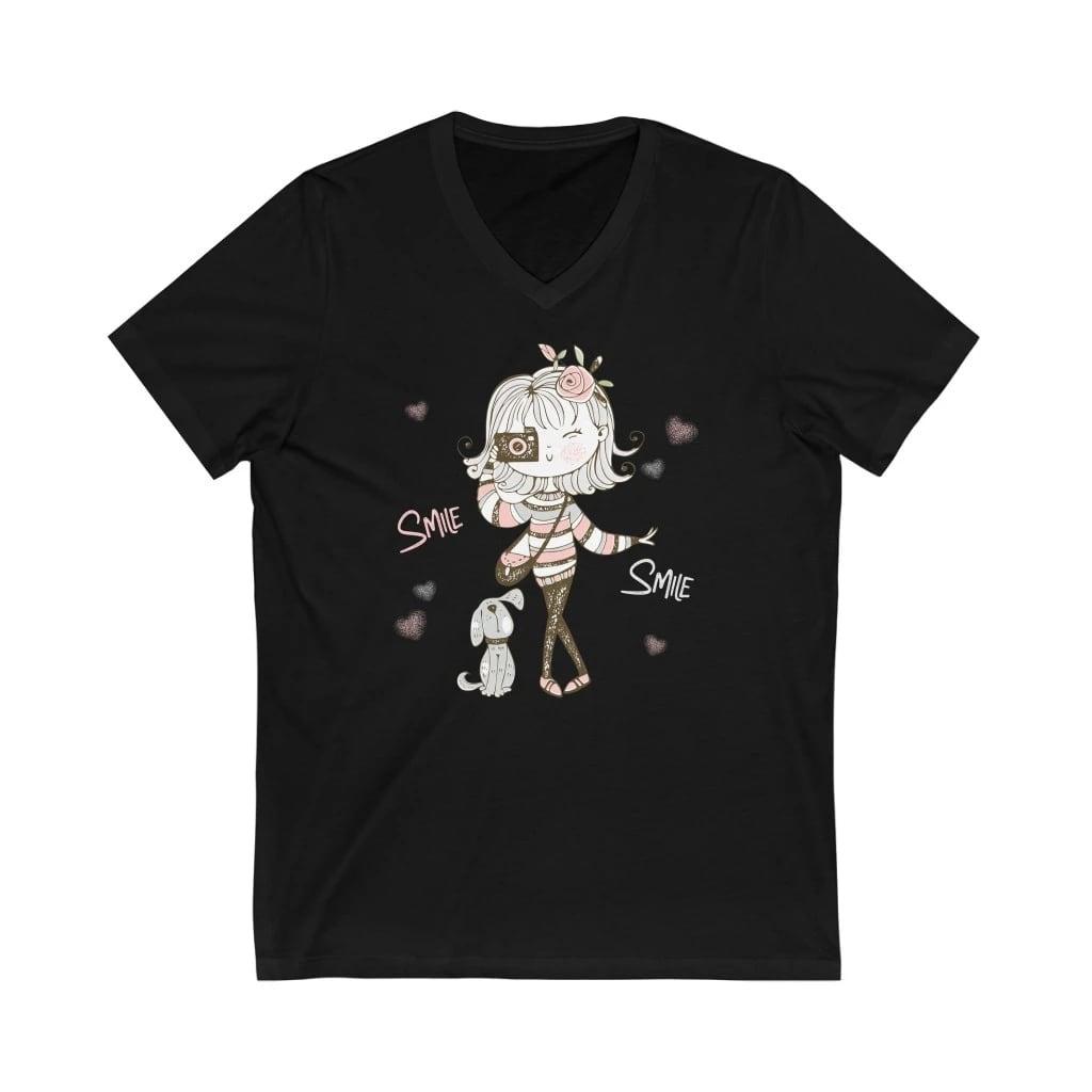 Fotografie T-shirt: Leuk meisje met camera en hondje - Korte mouwen V-hals T-shirt