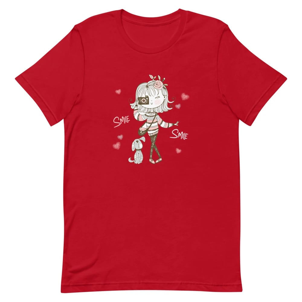 Fotograaf T-shirt: Leuk meisje met camera en hondje - T-Shirt