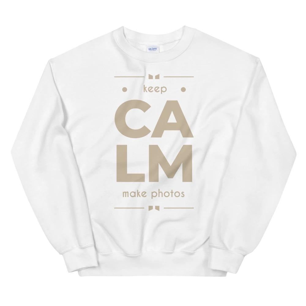 Sweatshirt voor fotograaf: Keep Calm Make Photos - Wit sweatshirt, dames