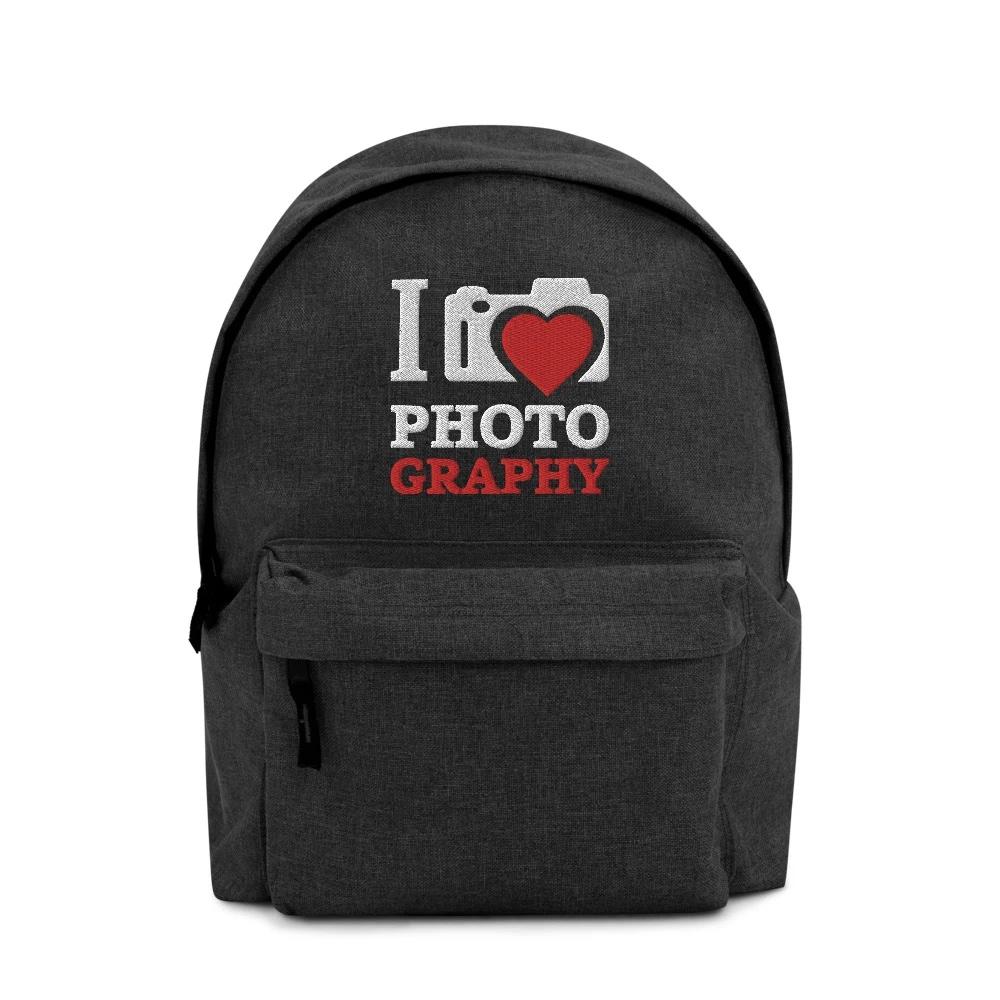 Rugzak voor fotograaf: I Love Photography - Geborduurde rugzak V2