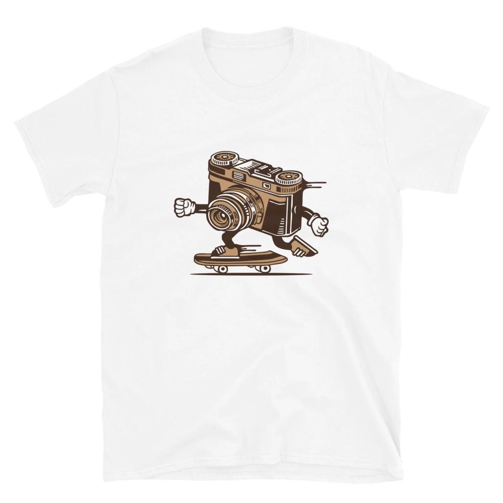 Sportief T-shirt fotograaf: Skater Camera - T-shirt met korte mouwen, unisex