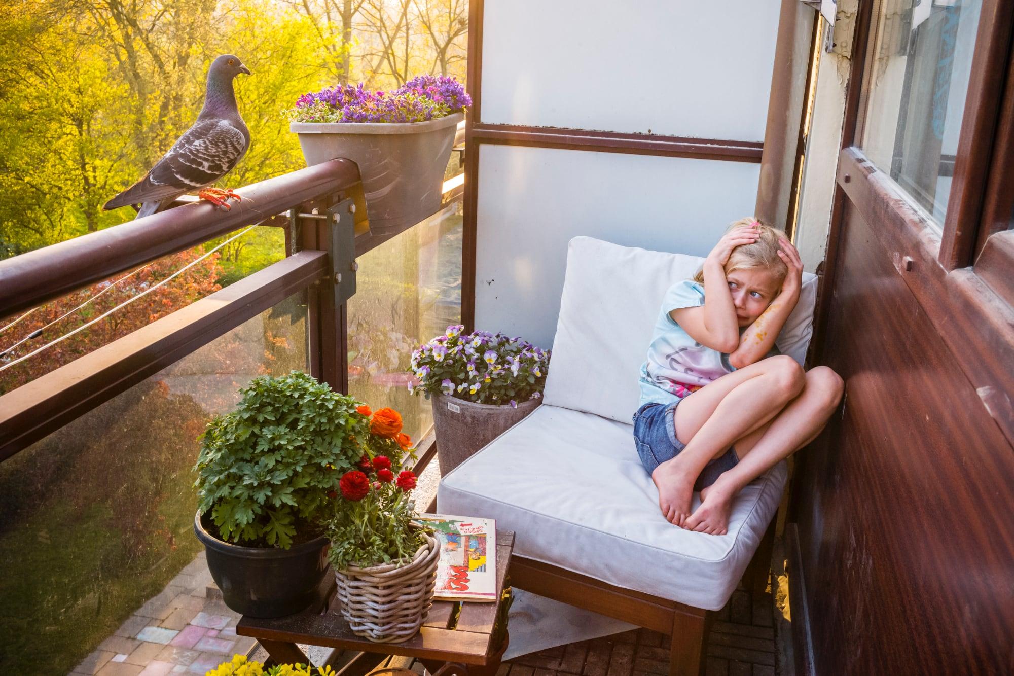 Pandemic Pigeons - A Love Story door fotograafJasper Doest, genomineerd voor World Press Photo 2021 - meisje op balkon bang voor duif
