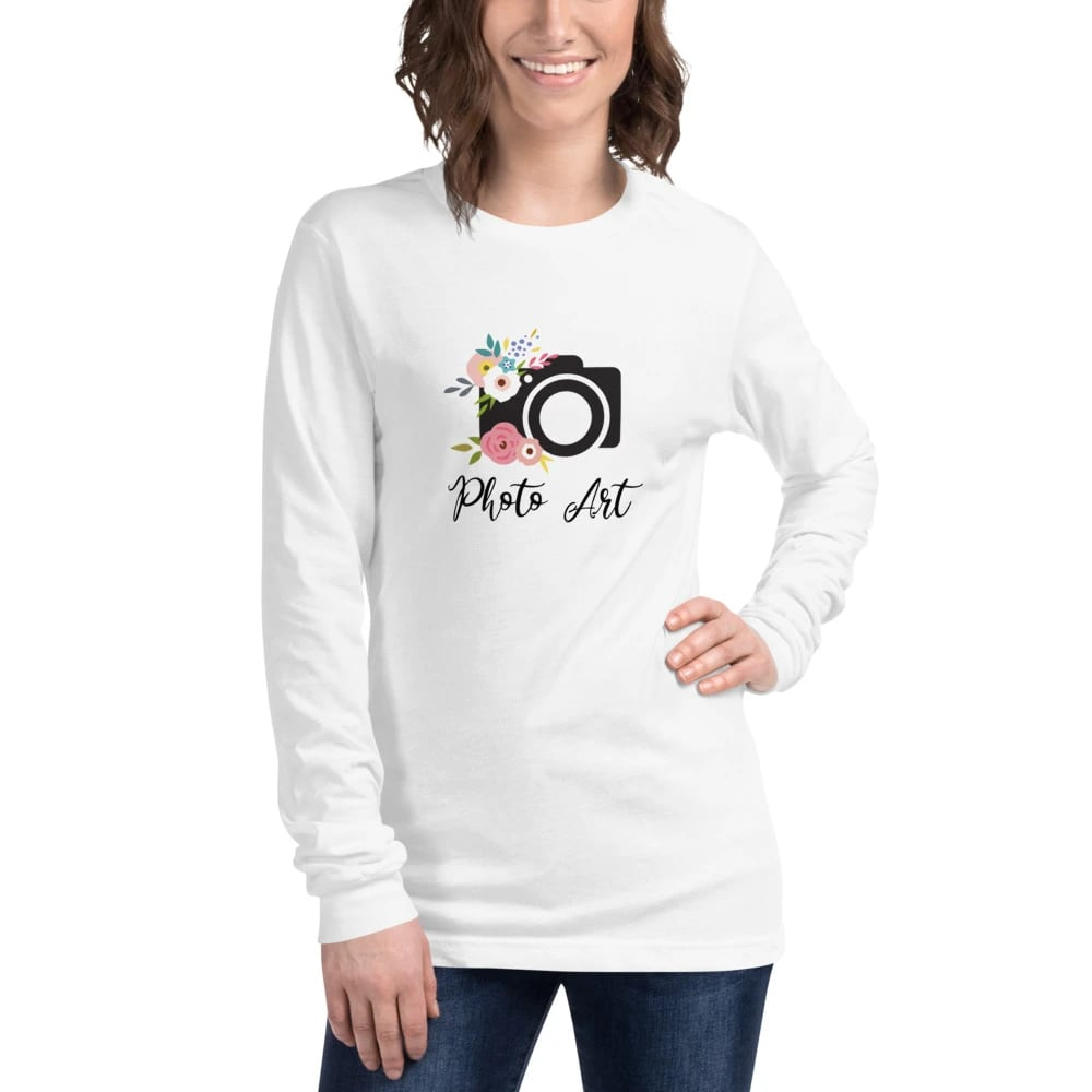 Fotograaf T-shirt lange mouw cadeau: lange mouwen T-shirt dames bedrukt met camera en bloemen en Photo Art tekst