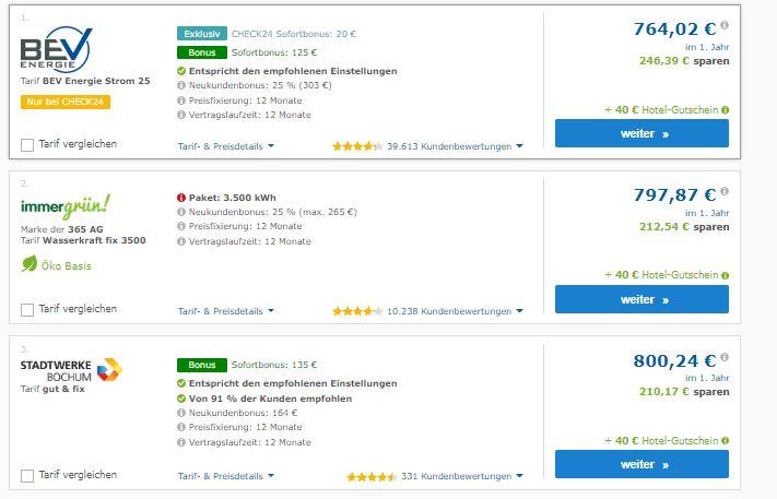 Screenshot: Vergleichsportal Check24. Preisvergleich in Bielefeld. Neben BEV und Stadtwerke Bochum findet sich ein Pakettarif von immergrün! an zweiter Stelle. Von solchen Tarifen ist abzuraten, da die meisten Verbraucher ihren Stromverbrauch nicht punktgenau einschätzen können.