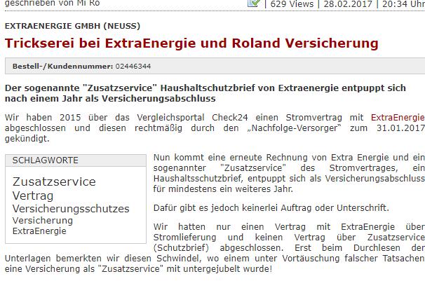 """Ein screenshot. Er zeigt einen Fall auf dem Beschwerdeportal Reclabox. Titel: """"Trickserei bei ExtraEnergie und Roland Versicherung"""". Der Stromanbieter ExtraEnergie bietet scheinbar kostenfreie Zusatzservices an, die im Nachhinein sich als Kostenfalle entpuppen."""