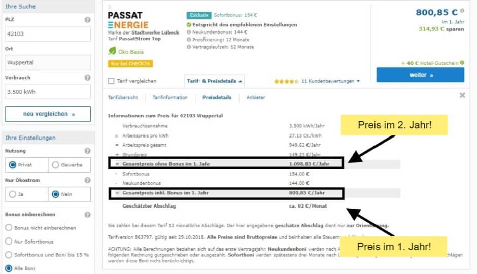 Strompreisvergleich in Wuppertal Preisdetails des Passat Energie Stromtarifs