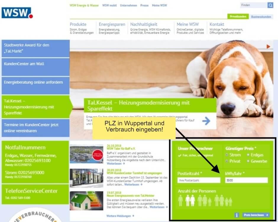Stromrechner der Wuppertaler Stadtwerke WSW beim Strompreisvergleich