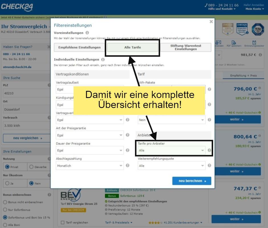 Filtereinstellungen beim Vergleichsportal Check24 während des Stromanbieter wechseln in Düsseldorf ändern
