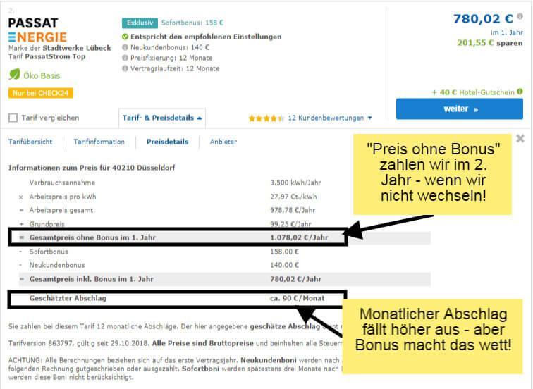 Preisdetails auf dem Vergleichsportal Check24 beim Stromanbieterwechsel in Düsseldorf