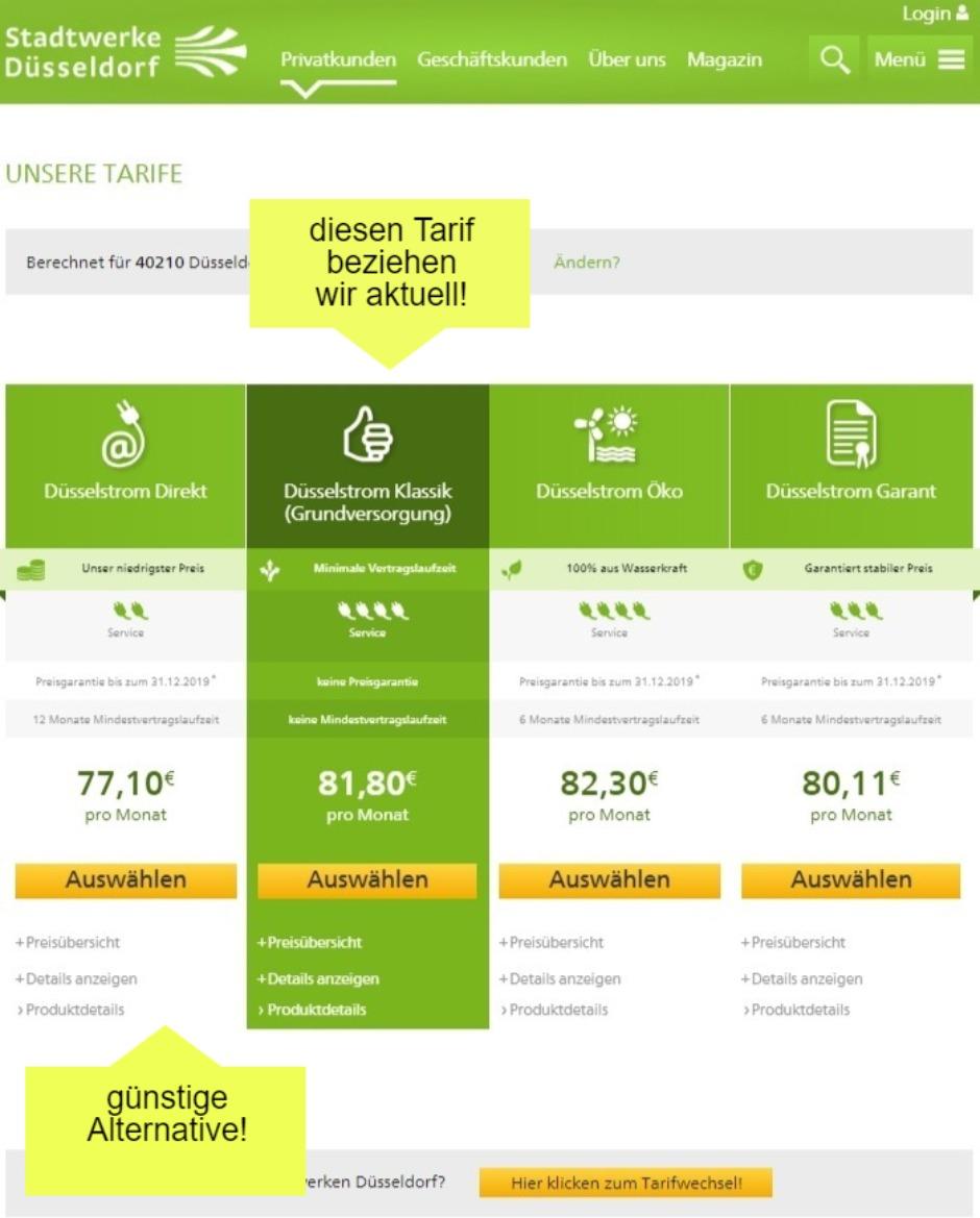 einen günstigen Stromtarif der Stadtwerke Düsseldorf beim Stromanbieter wechseln in Düsseldorf