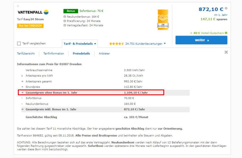 Ein 24 Monatiger Stromtarif mit Bonus lohnt sich nicht, wie wir an diesem Beispiel beim Strom-Preisvergleich in Dresden sehen