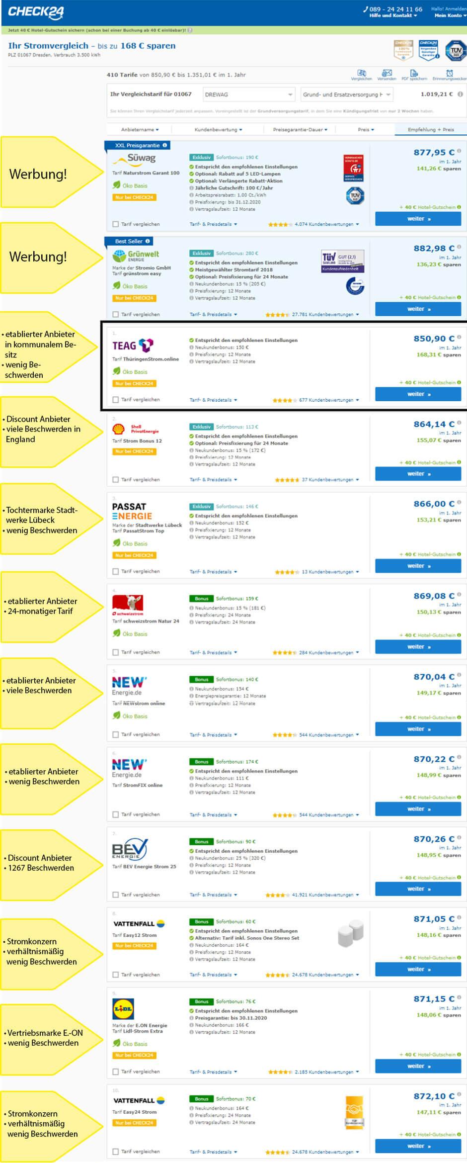 Preis-Leistung-Sieger beim Strom-Preisvergleich in Dresden auf Check24 ist die TEAG mit rund 170 € Ersparnis, genauso wie der Kamikaze