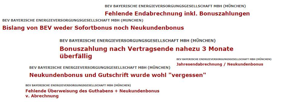 Stromvergleich Beschwerden über BEV Energie Bonuszahlung verzögert
