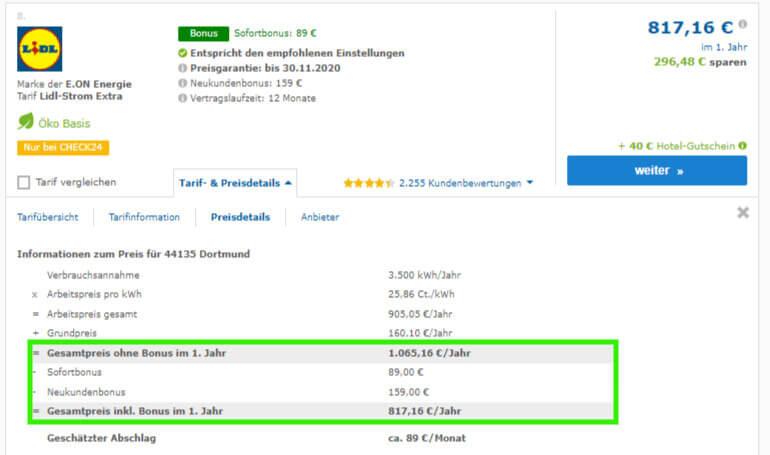 Strom-Preisvergleich in Dortmund, Preisdetails des günstigen Stromtarifs von LIDL Strom