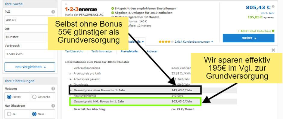 Preisdetails des günstigen Stromtraifs der 123 Energie beim Stromanbieter wechseln in Münster