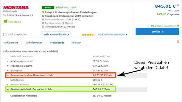 Preisdetails des günstigen Stromanbieter Montana Energie, Preis-Leistungs-Sieger beim Strompreisvergleich in Bielefeld