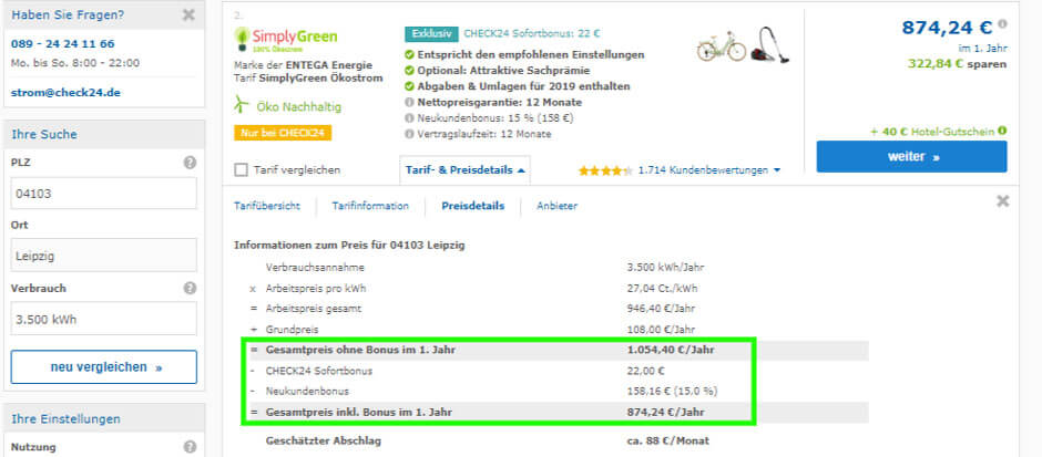 Stromanbieter wechseln Tarifdetails eines beispielhaften Tarifs SImply Green Tochtermarke von Entega