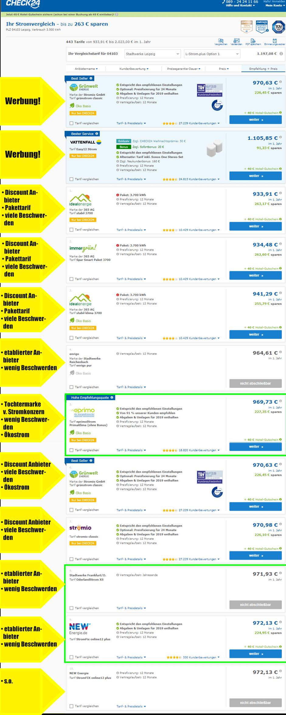 Stromanbieter wechseln, stromtarife ohne Bonus auf einem Preisvergleichsportal wie Check24