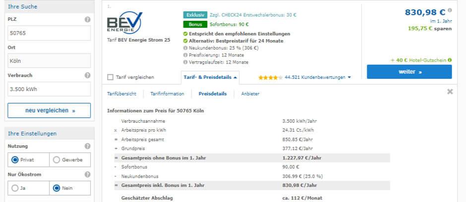 Strompreisvergleich Köln Tarifdetails des Preissiegers BEV Energie