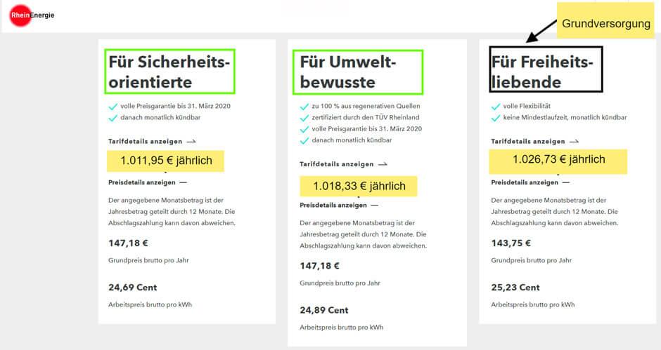 Strompreisvergleich Rheinenergie günstige Stromtarife Alternativen