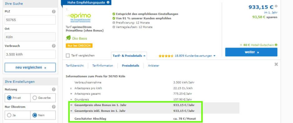 Stromanbieter wechseln Beispiel: Preisdetails vom Ökostrom Tarif Eprimo