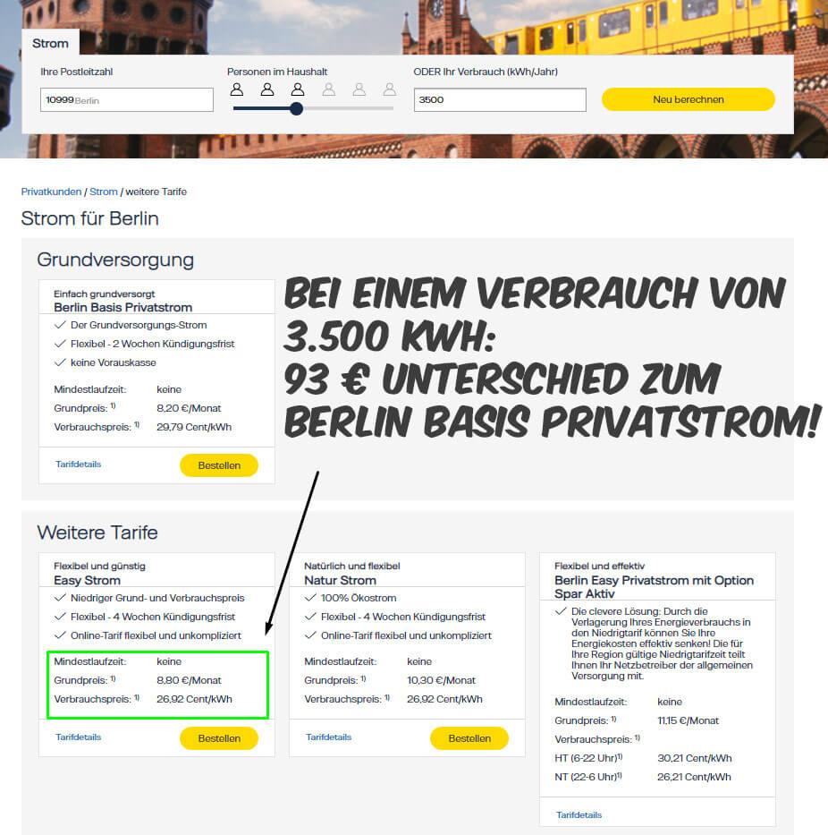 Strompreisvergleich Berlin Vattenfall Vermeider finden alternativ günstige Stromtarife auf der Webseite
