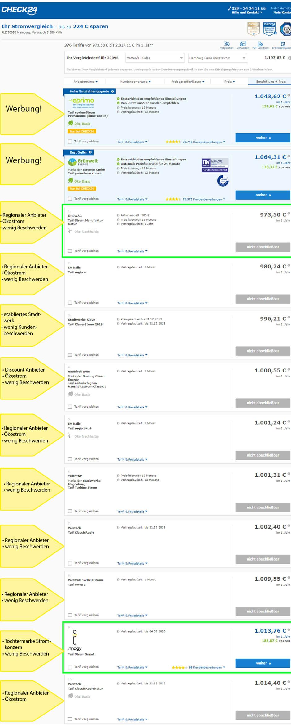 Stromanbieter wechseln in Hamburg: so sieht die Ergebnisliste im Vergleichsportal Check24 aus, wenn man sich Tarife ohne Bonus anzeigen laesst