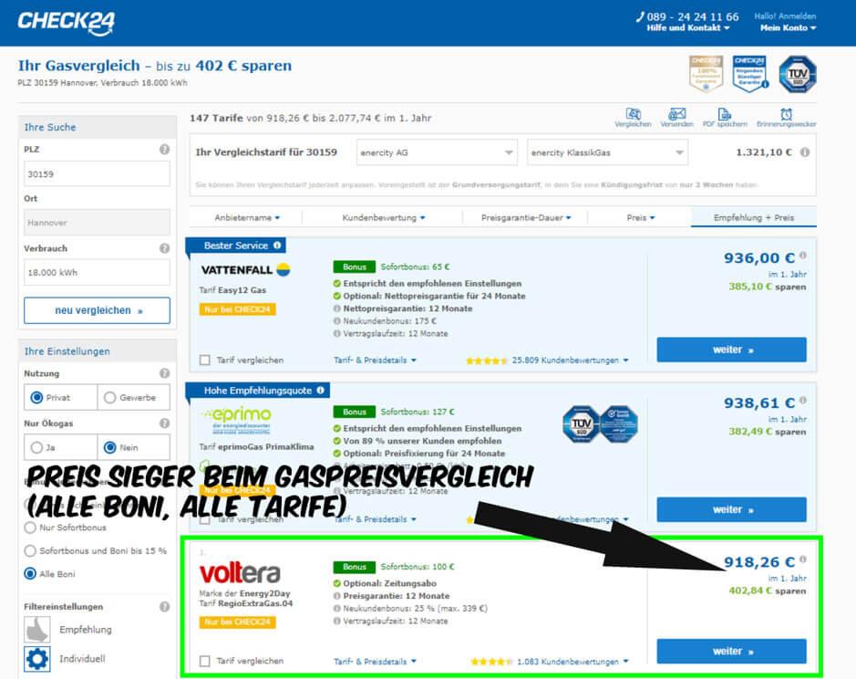 Gaspreisvergleich in Hannover Voltera günstigster Gasanbieter auf Vergleichsportal Check24