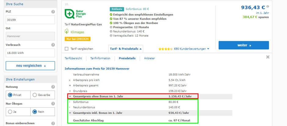Tarifdetails von NaturEnergiePlus beim Gaspreisvergleich in Hannover
